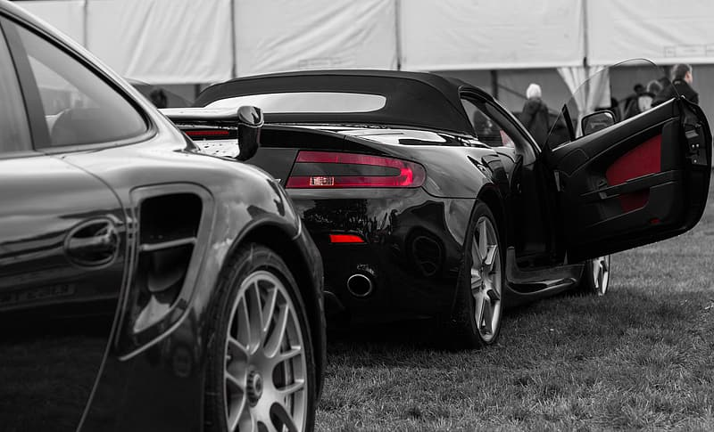 Selective color photography of convertible coupe parked on grass field
