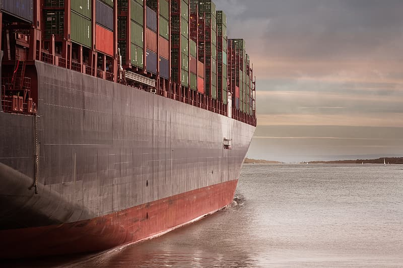 Cargo ship on water under gray sky photography