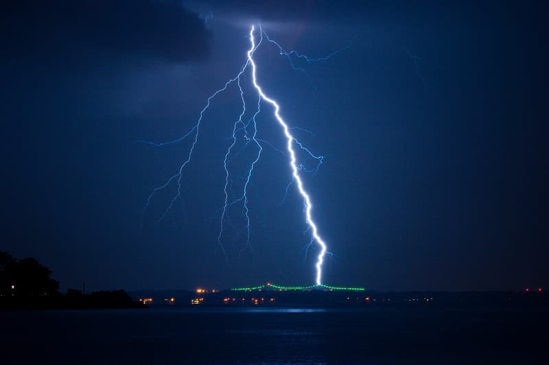 Lightning strike near body of water