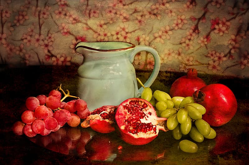 Still-life photography of fruits and pitcher on table