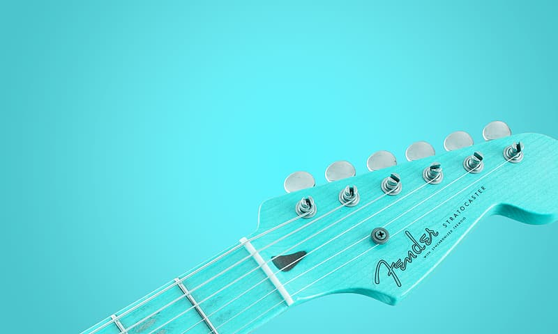 Teal Fender guitar headstock