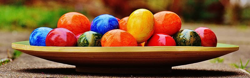 Assorted-color decorative eggs on tray