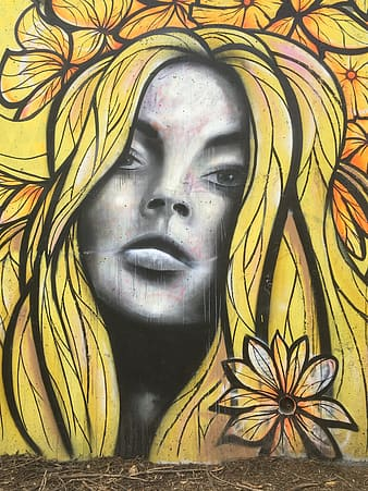 Woman with yellow hair portrait mural