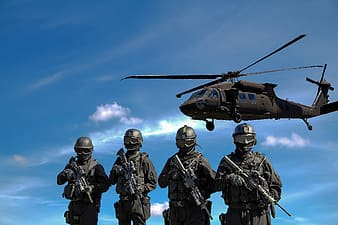 Gray helicopter over four soldier