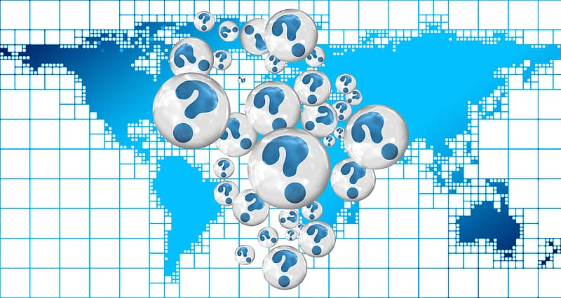 Question mark with world map clip-art