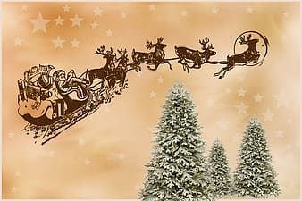 Santa riding sleigh flying over trees illustration