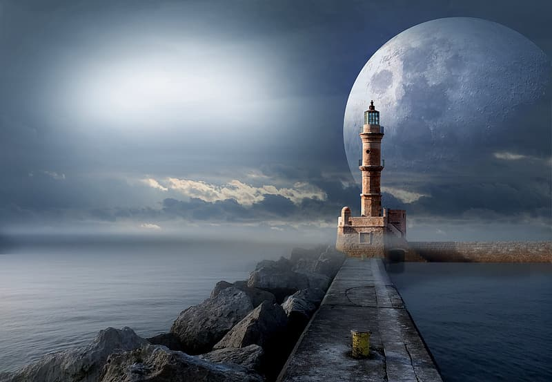 Photo of gray lighthouse during full moon illustration