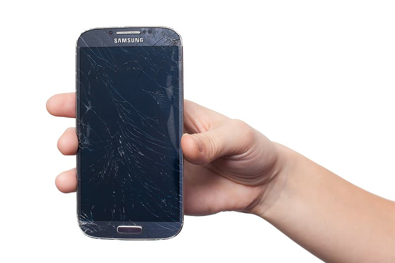 Cracked black Samsung Galaxy Android smartphone