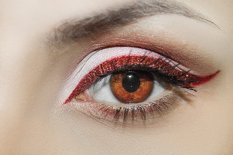 Woman with red eyeshadow