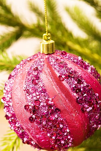 Pink and white floral bauble