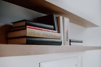 Architecture books on the shelf