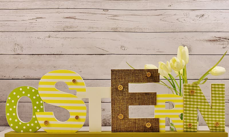Yellow and brown freestanding letters