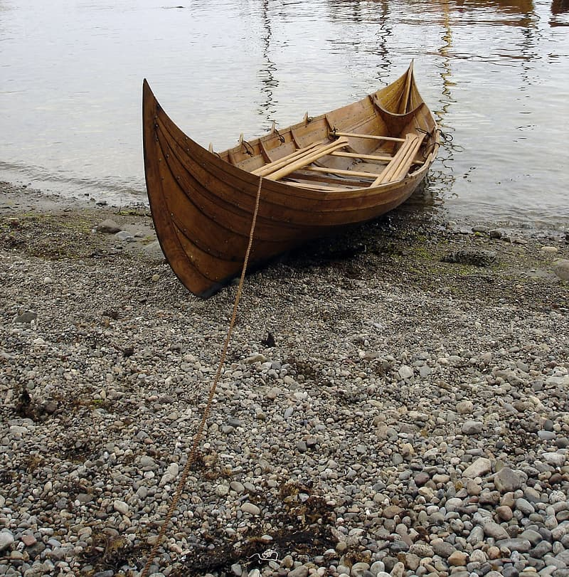 Brown wooden boat on seashore at daytime