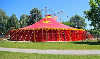 Yellow and red canopy tent under blue sky