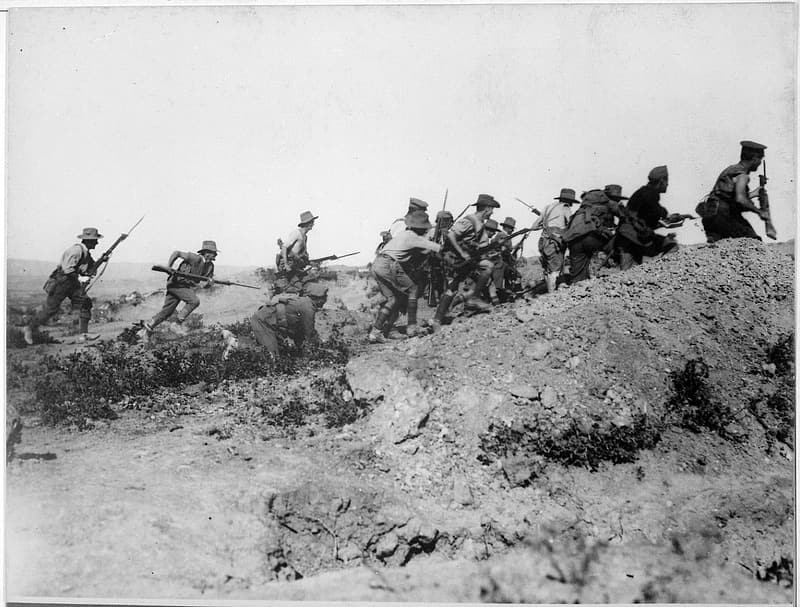 Australian Troops charging a trench at the battle of Gallipoli