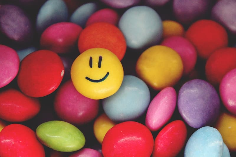 Yellow smiley candy photography
