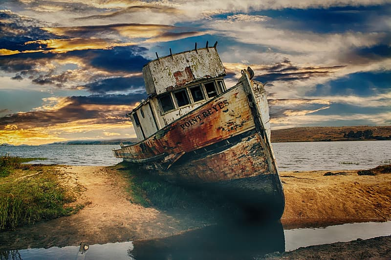 Point Reyes sail boat stranded on an Island during sunset photography