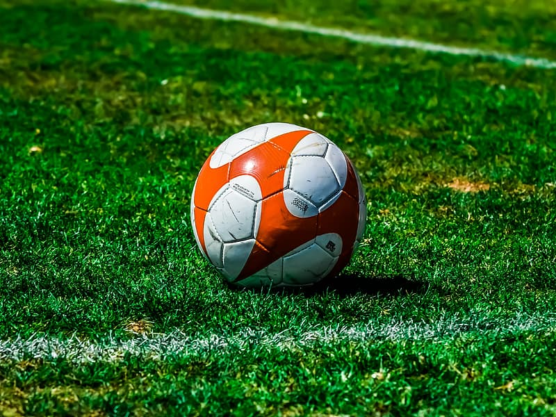 White red and blue soccer ball on green grass field