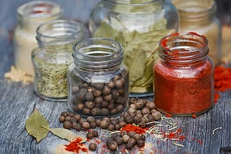 Clear glass jars with spice