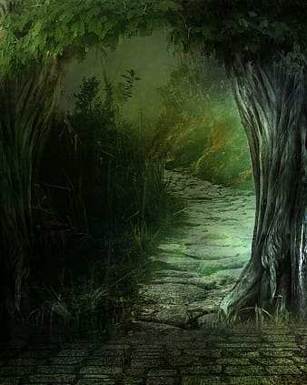 Green leafed trees painting