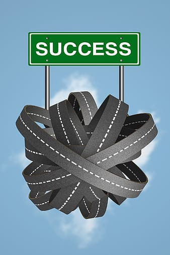 Green Success road signage and grey roads illustration
