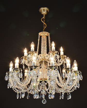 Clear and brown uplight chandelier