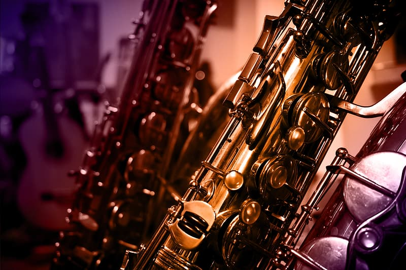 Close-up of brass-colored saxophone