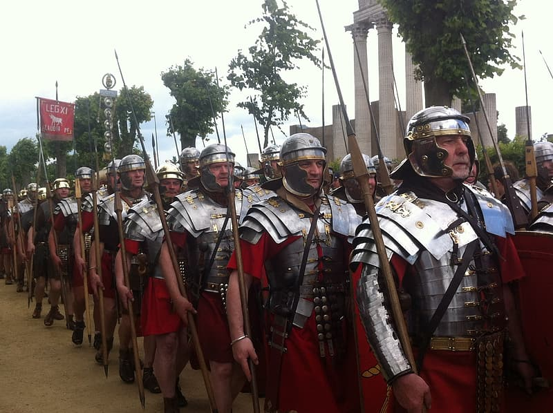 Lane of soldiers holding spear