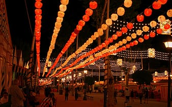 Lighted red and orange paper lanterns