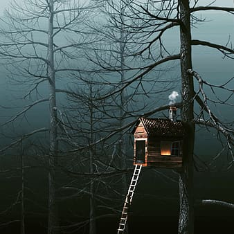 Brown tree house with chimney releasing smoke