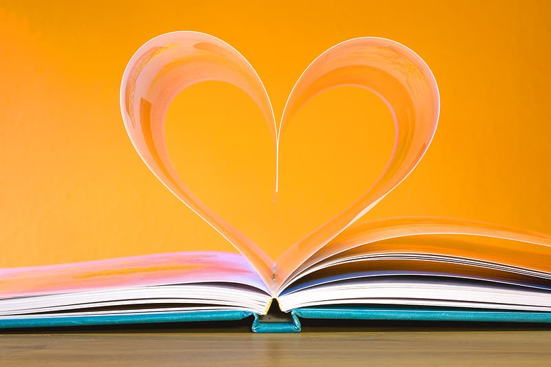 Book page form heart in close-up photography