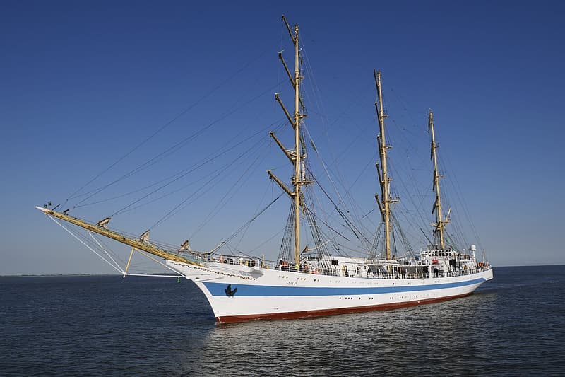 White and blue ship