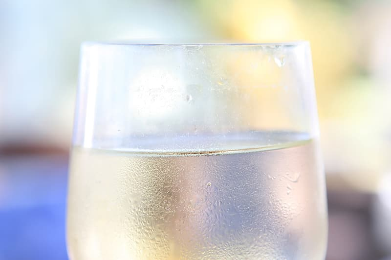 Close up photo of cold drinking glass