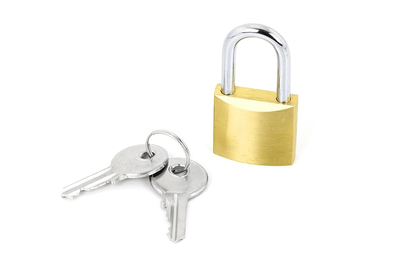 Photo of gold and silver colored pad lock and two keys