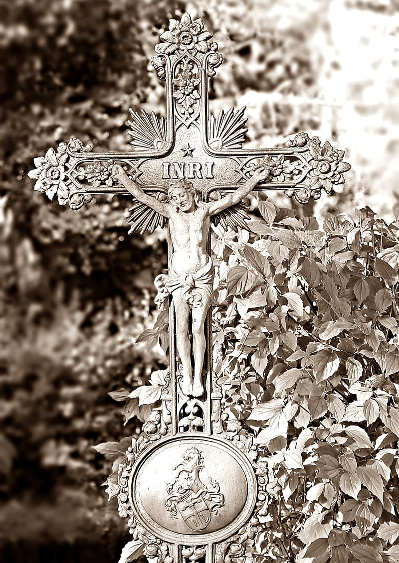 Silver crucifix decor