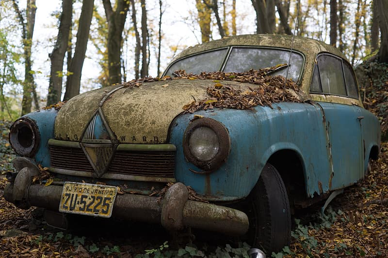 Classic blue abandoned car in trees