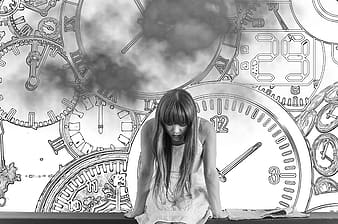 Grayscale photo of woman in dress with clocks as background