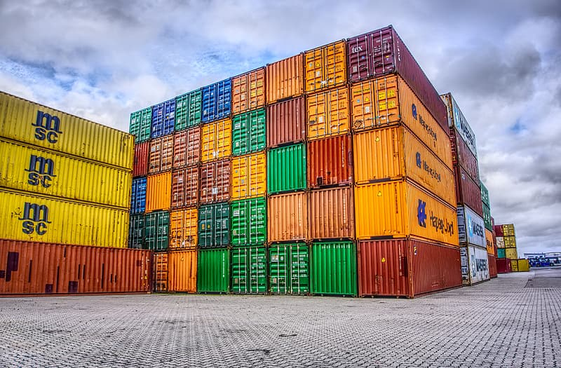 Assorted-color intermodal container lot