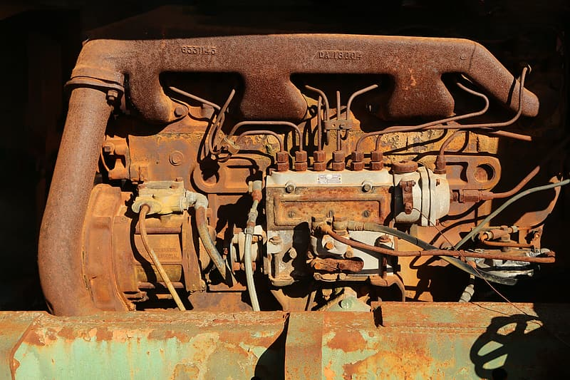 Rusted brown vehicle engine