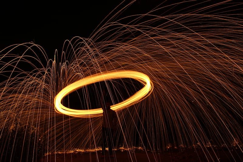 Silhouette macro photography of fire lasso