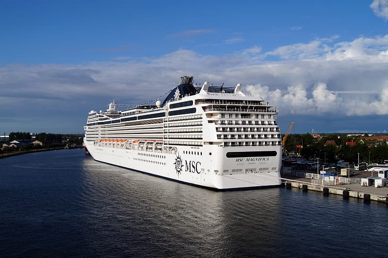 White MSC cruise ship on dock at daytime
