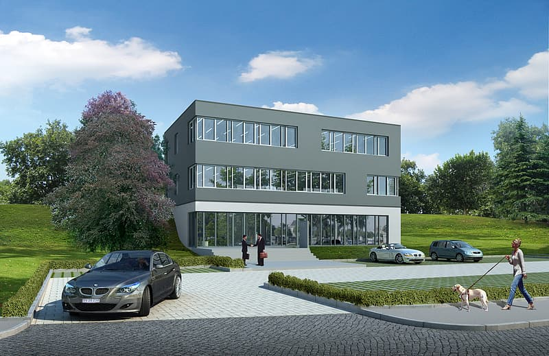 Gray BMW sedan parked on driveway near building concept