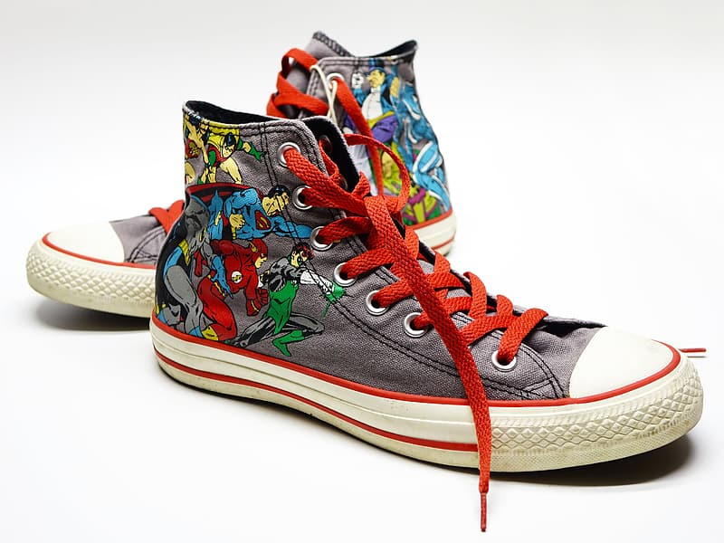 Gray-and-multicolored high-top sneakers