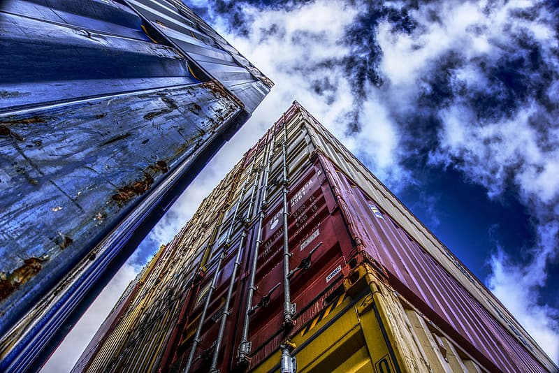 Low angle view of pile of intermodal containers