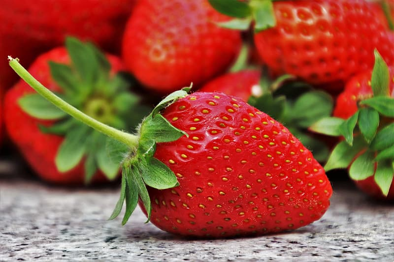 Strawberry selective focus photography
