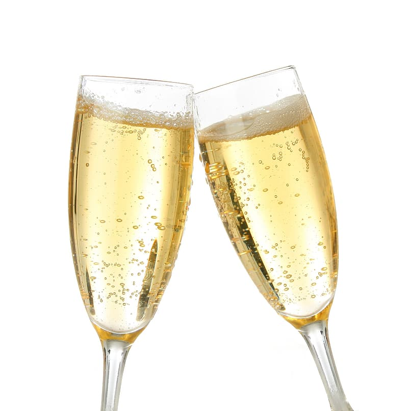 Two clear champagne glasses with champagne