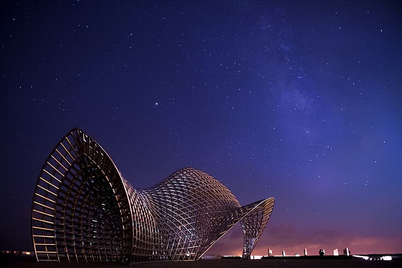 Black and white polka dot building under starry night