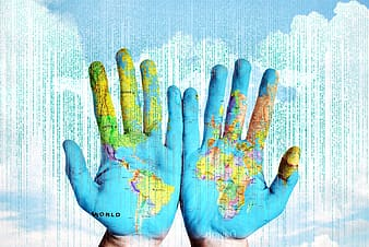 Hands with blue map paint
