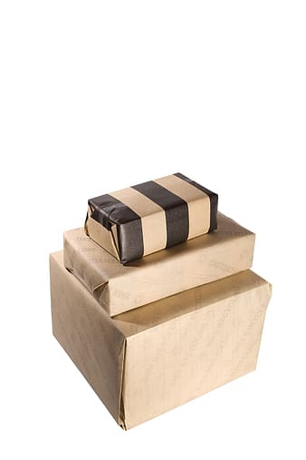 Three brown boxes