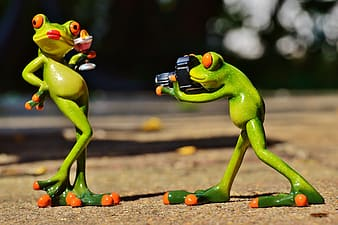 Two green frog plastic toys